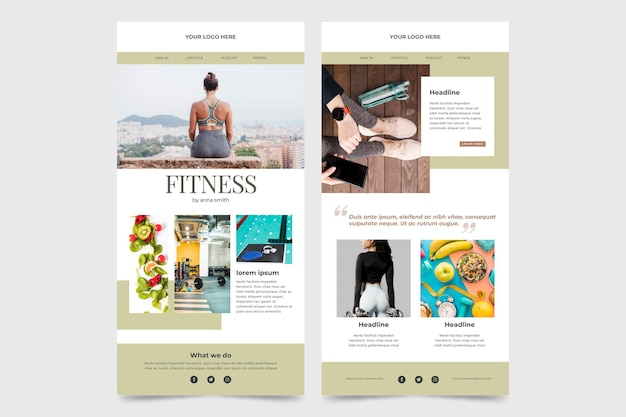 Fitness email template set Free Vector