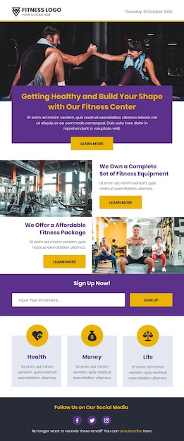 Fitness email template with news Free Vector
