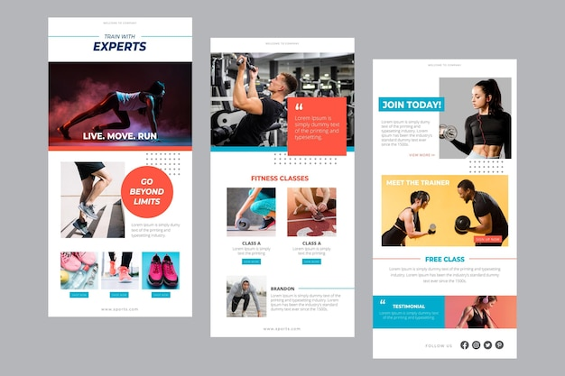 Fitness email template Free Vector