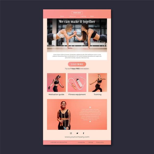 Modello di email fitness Vettore gratuito