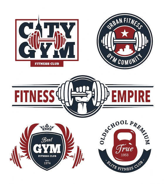Fitness emblems set Free Vector
