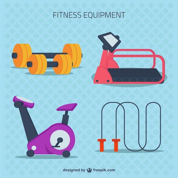 Attrezzature per il fitness in stile piatto Vettore gratuito