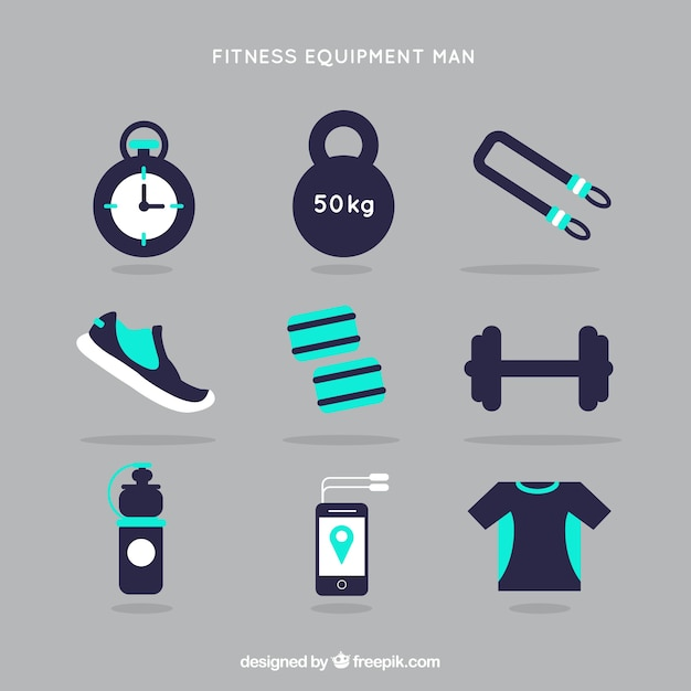 Fitness equipment man in blue color Free Vector