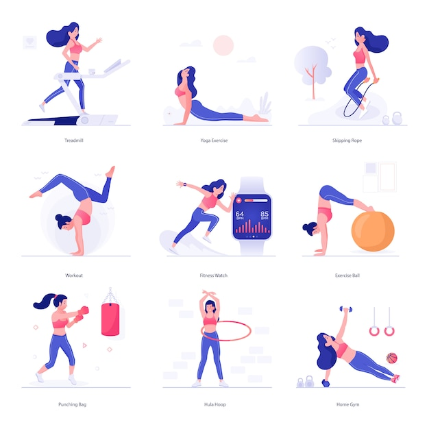 Fitness and exercise character illustrations Premium Vector