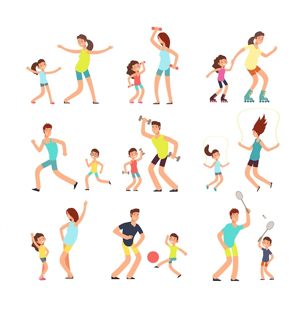 Fitness family, parents and kids training together. Premium Vector