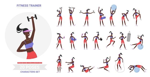 피트니스 여성 트레이너 체육관 운동은 체조 스포츠 연습을하고 포즈 프리미엄 벡터