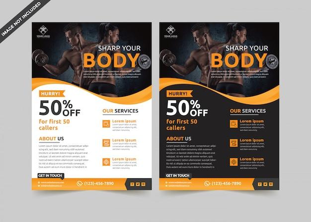Fitness flyer template premium vector Premium Vector