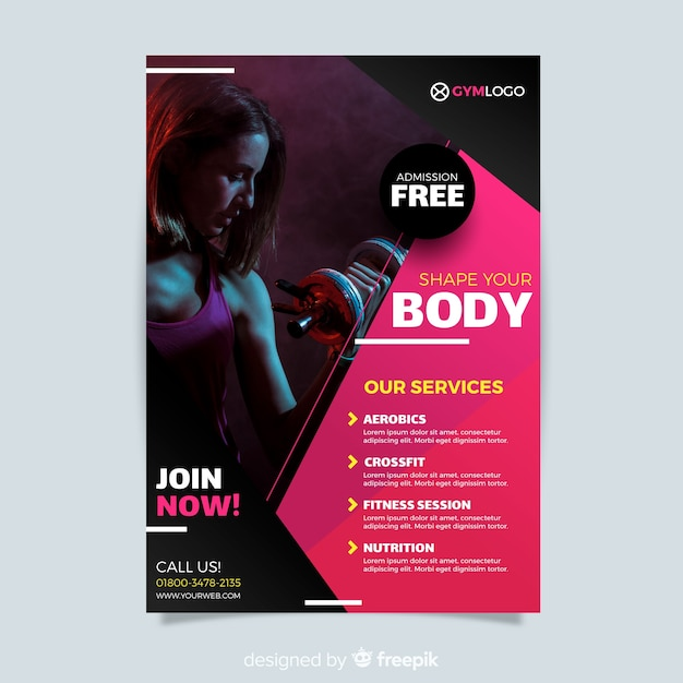 Fitness flyer template Free Vector