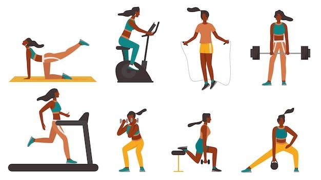 스포츠 장비 벡터 일러스트 레이 션 세트 훈련에서 피트 니스 소녀. 건강 한 운동을 하 고 운동복에 만화 낚시를 좋아하는 여자 캐릭터, 러닝 머신 조깅, 보디 빌딩 흰색으로 격리 프리미엄 벡터
