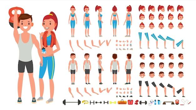 Fitness girl, man Premium Vector