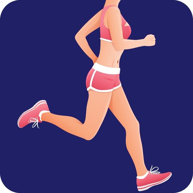 Фитнес-девушка, спортсменка, бегунья в розовой спортивной одежде, Premium векторы