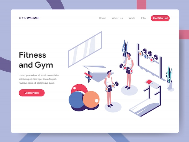 Fitness and gym banner concept for website page Premium Vector