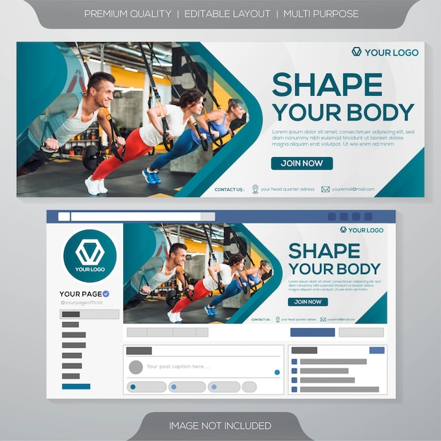 Fitness gym banner template Premium Vector