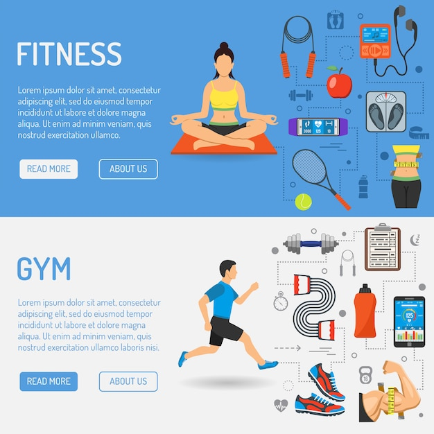 Fitness and gym banners Premium Vector