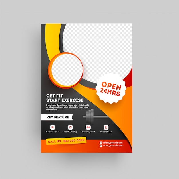Fitness and gym concept based fitness club brochure or template Premium Vector