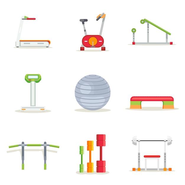 플랫 스타일의 운동을위한 피트니스 체육관 운동 장비. 아이콘을 설정합니다. 디딜 방아 및 바벨, 플랫폼 및 바, 달리기 및 자전거, 벡터 일러스트 레이션 무료 벡터