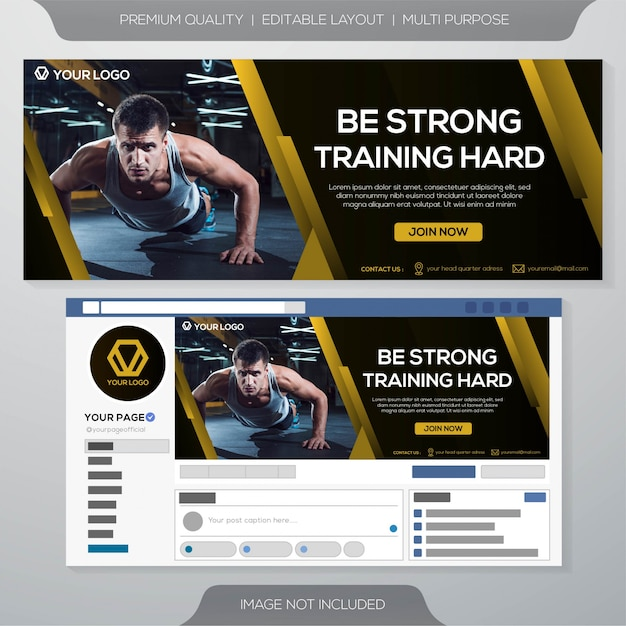Fitness gym facebook cover template Premium Vector