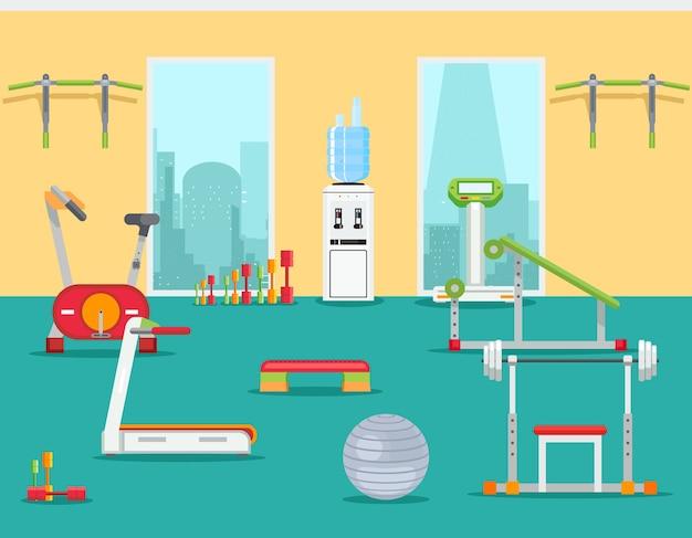 플랫 스타일의 피트니스 체육관. 실내 훈련을위한 스포츠 실내 공간. 벡터 일러스트 레이 션 무료 벡터