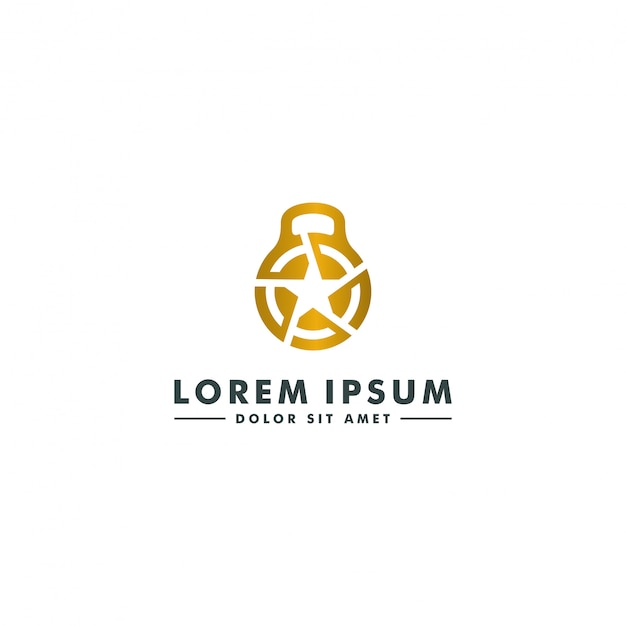 Fitness gym logo template. barbell icon Premium Vector