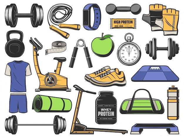 피트니스, 체육관 개체, 스포츠 운동 장비 프리미엄 벡터
