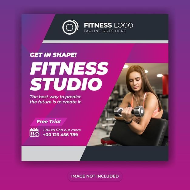 피트니스 체육관 소셜 미디어 배너 디자인 광장 게시물 템플릿 또는 전단지 디자인 프리미엄 벡터
