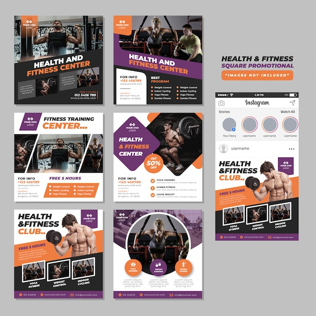 Fitness gym social media square promotional template Premium Vector