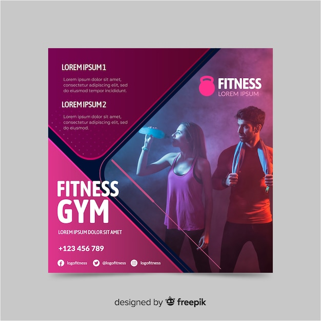Fitness gym sport banner with photo Free Vector