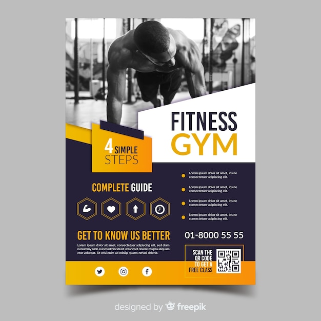 Fitness gym sport flyer template Free Vector
