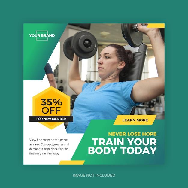 Fitness gym sport post Premium векторы