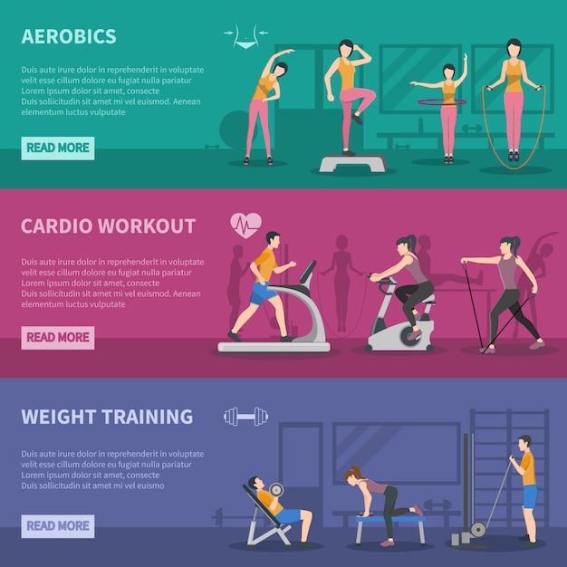 Fitness gym training banners Free Vector