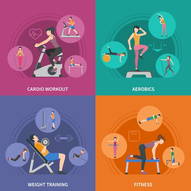Fitness gym training characters set Free Vector