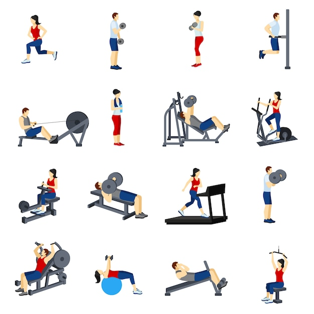 Fitness gym training icons set Free Vector