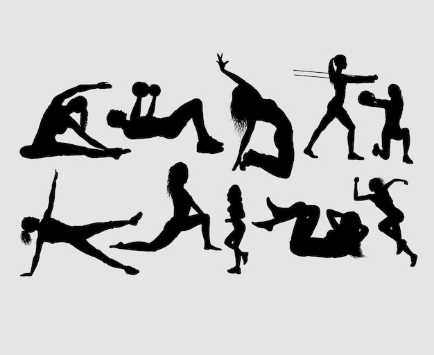 Fitness and gymnastic male and female silhouette Premium Vector