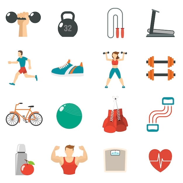 Fitness icon flat set Free Vector
