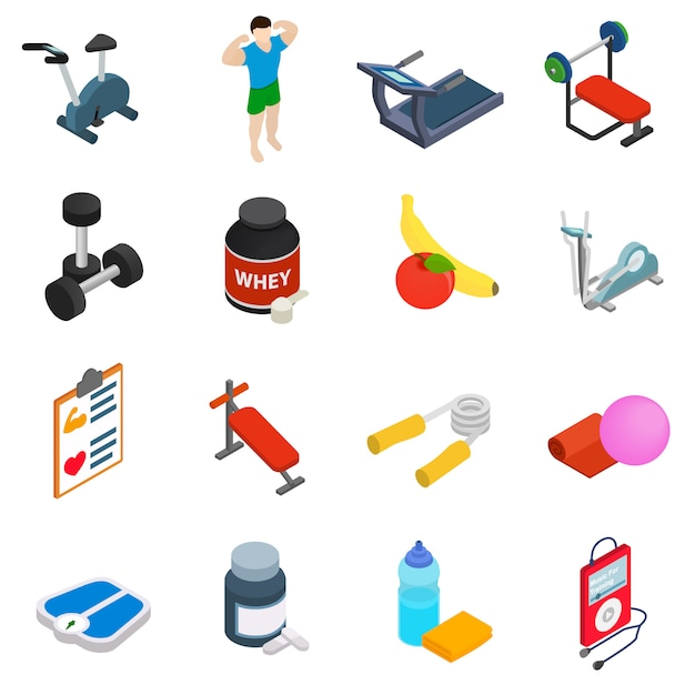 Fitness icons set isolated on white background Premium Vector