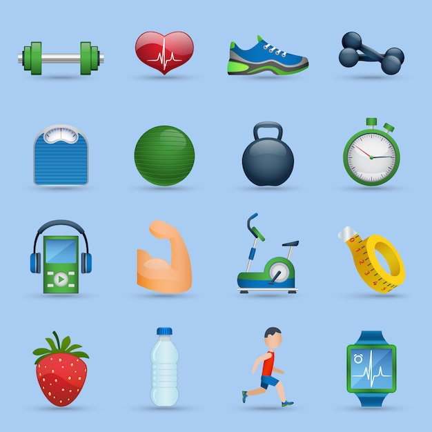 Fitness icons set Free Vector