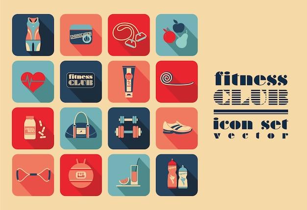 Fitness icons set Premium Vector