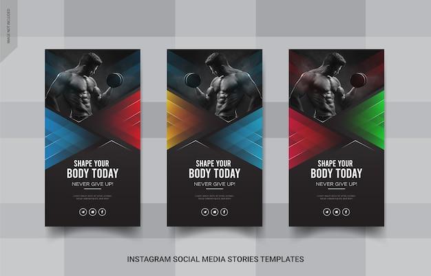 Фитнес insgtagram stories баннер шаблон сообщения в социальных сетях Premium векторы