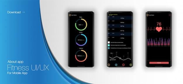 モバイルアプリケーションのフィットネスインターフェイス。 webデザインとモバイルテンプレート。違う Premiumベクター