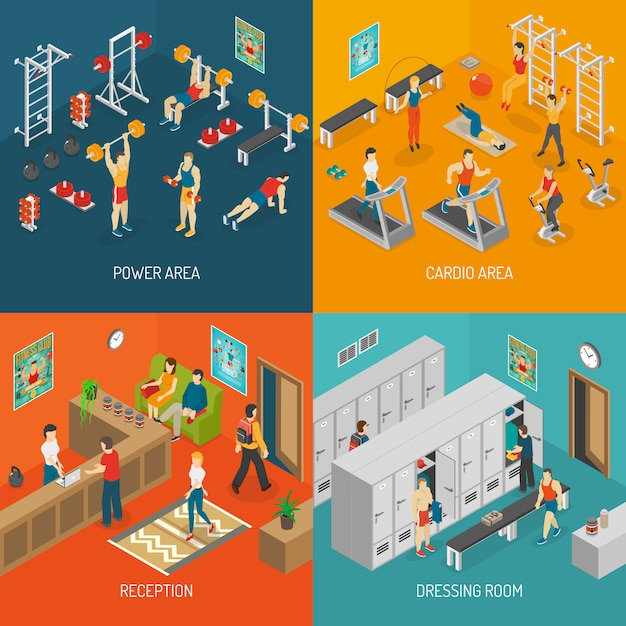 Fitness isometric concept vector image set Free Vector