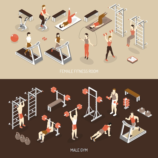 Fitness isometric horizontal banners Free Vector