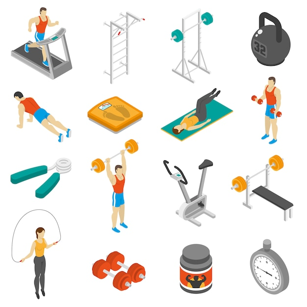 Fitness isometric icons set Free Vector