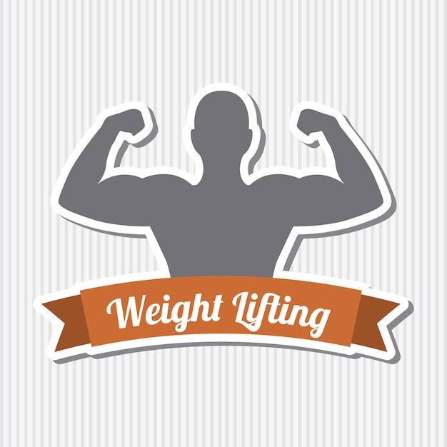 Fitness label over gray background vector illustration Premium Vector