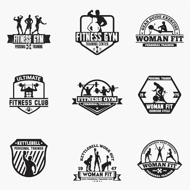 Fitness logo badges Premium Vector