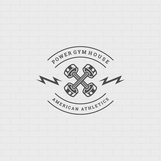 피트니스 로고 또는 배지 그림 두 개의 교차 아령 스포츠 장비 기호 실루엣 프리미엄 벡터