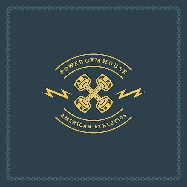 피트니스 로고 또는 배지 그림 프리미엄 벡터