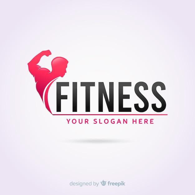 Fitness logo template flat design Free Vector