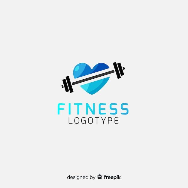 フィットネスのロゴのテンプレートフラットスタイル 無料ベクター