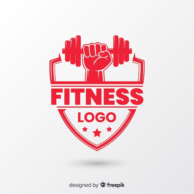 Fitness logo template flat style Free Vector