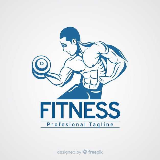 Fitness logo template with muscular man Free Vector